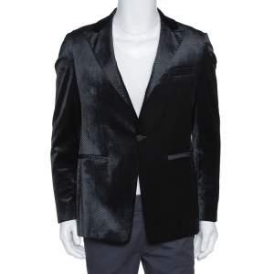Emporio Armani Black Diamond Pattern Velvet Jude Line Jacket L