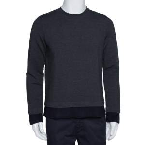Emporio Armani Charcoal Cotton Knit Rib Trim Detail Crew Neck Sweatshirt L