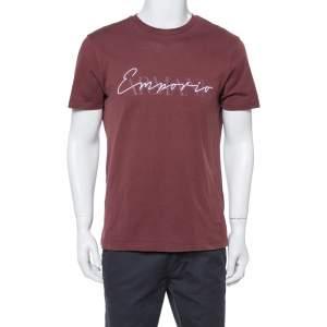 Emporio Armani Maroon Cotton Logo Detail Crew Neck T-Shirt L