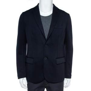 Emporio Armani Navy Blue Cotton Blend Notched Lapels Blazer XL