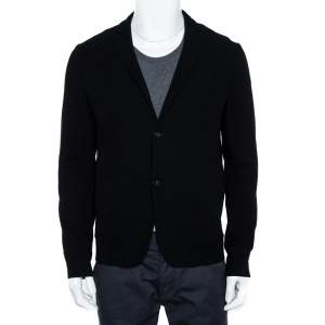 Emporio Armani Black Stretch Wool Two Button Blazer M