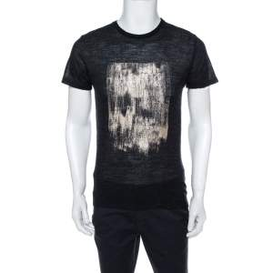 Emporio Armani Charcoal Grey Knit Abstract Gold Foil Print T Shirt L