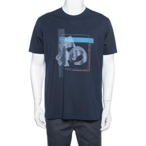 Emporio Armani Navy Blue Peace Relief Print Cotton T-Shirt XXL