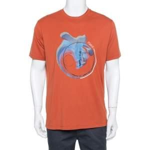Emporio Armani Burnt Orange Power Printed Cotton T-Shirt XXL