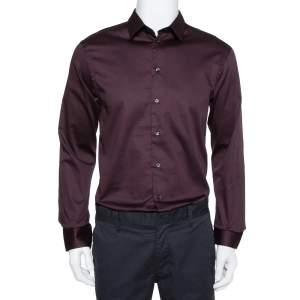 Emporio Armani Burgundy Cotton Button Front Shirt XL