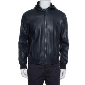 Emporio Armani Navy Blue Faux Leather Hooded Zip Front Jacket L