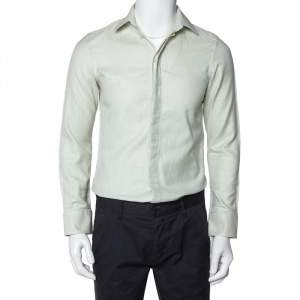Emporio Armani Light Green Cotton Button Front Shirt S
