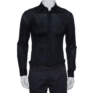 Emporio Armani Navy Blue Perforated Stretch Cotton Button Front Shirt M