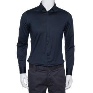 Emporio Armani Navy Blue Stretch Cotton Button Front Shirt M