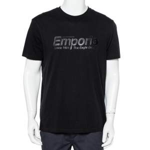 Emporio Armani Black Logo Embroidered Cotton Crewneck T-Shirt XXL