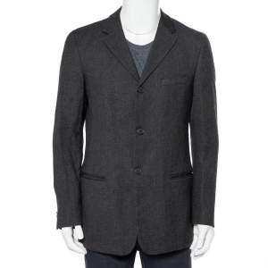 Emporio Armani Charcoal Grey Wool Button Front Blazer M