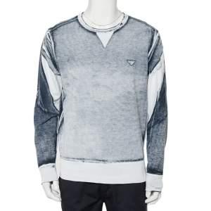 Emporio Armani White & Navy Blue Cotton Pique Crewneck T-Shirt XL