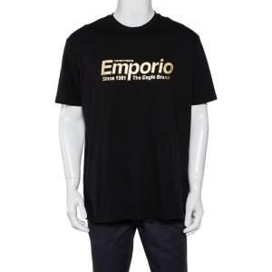 Emporio Armani Black Cotton Logo Printed Crewneck T-Shirt 3XL