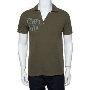 Emporio Armani Khaki Green Cotton Polo T-Shirt L