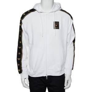 Emporio Armani White Cotton Logo Patch Zip Front Hoodie L