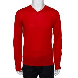 Emporio Armani Red Wool V-Neck Sweater XL