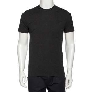 Emporio Armani Charcoal Grey Logo Embroidered Cotton Crewneck T-Shirt S
