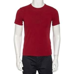 Emporio Armani Burgundy Logo Printed Cotton Crewneck T-Shirt M