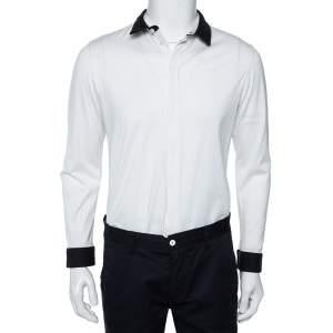Emporio Armani White Cotton Contrast Wool Trim Button Front Shirt XL