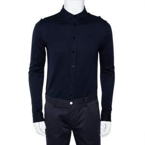 Emporio Armani Navy Blue Knit Button Front Shirt L