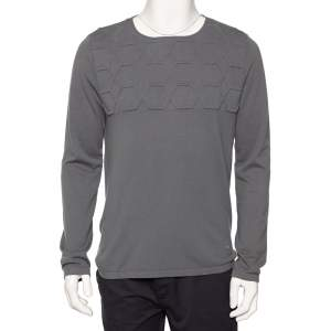 Emporio Armani Grey Embossed Knit Round Neck Sweater L