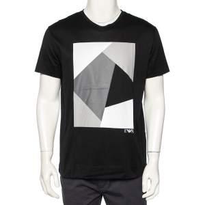 Emporio Armani Black Abstract Printed Cotton Crewneck T-Shirt M