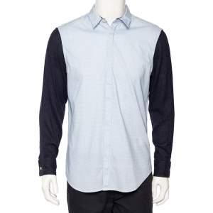 Emporio Armani Blue Checkered Cotton Contrast Sleeve Button Front Shirt L