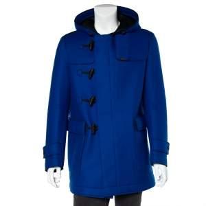 معطف أمبوريو أرماني دوفل هودد زر توغل طبقة شبك وصوف أزرق مقاس كبير جدا