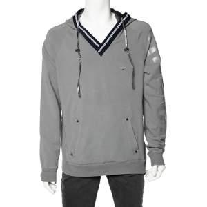 Emporio Armani Grey Cotton Knit Contrast Trim hooded Sweatshirt 3XL