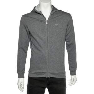 Emporio Armani Grey Cotton Knit Hooded Sweatshirt L