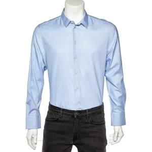 Emporio Armani Blue Cotton Button Front Shirt L