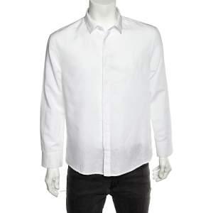 Emporio Armani White Cotton & Linen Button Front Shirt XL
