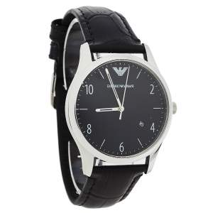 Emporio Armani Black Stainless Steel Leather Classic AR1865 Men's Wristwatch 41 mm