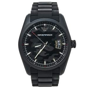 Emporio Armani Black PVD Coated Stainless Steel Rubber Sportivo AR6052 Men's Wristwatch 42 mm
