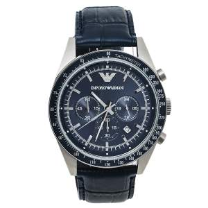 Emporio Armani Navy Blue Stainless Steel Leather AR6089 Men's Wristwatch 46 mm