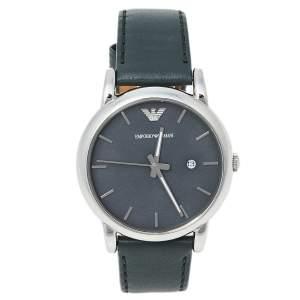 Emporio Armani Grey Stainless Steel Leather AR1730 Men's Wristwatch 41 mm