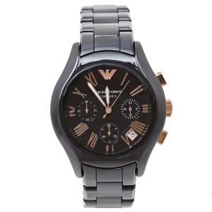Emporio Armani Brown Ceramic & Gold Tone Stainless Steel Ceramica AR1447 Men's Wristwatch 39 mm