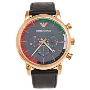 Emporio Armani Grey Rose Gold Plated Stainless Steel UAE National Day Edition AR80003 Men's Wristwatch 46 mm