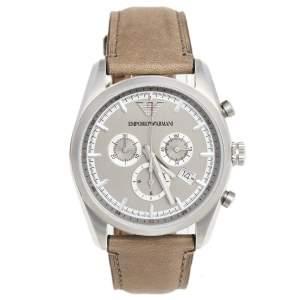 Emporio Armani Grey Stainless Steel Leather Sportivo AR6040 Men's Wristwatch 42 mm