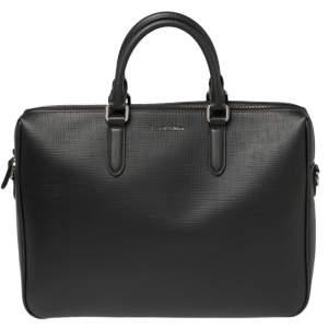 Ermenegildo Zegna Black Leather Stuoia Business Bag