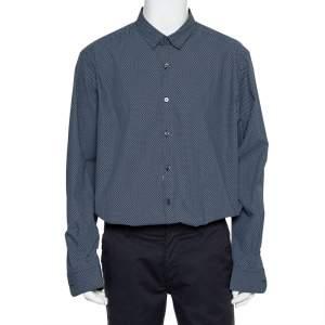 Ermenegildo Zegna Blue Printed Cotton Button Front Shirt 3XL