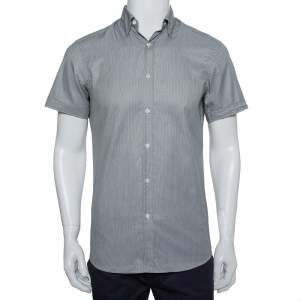 Ermenegildo Zegna Grey Printed Cotton Short Sleeve Shirt S
