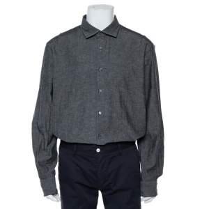 Ermenegildo Zegna Charcoal Grey Cotton & Linen Button Front Shirt XXL