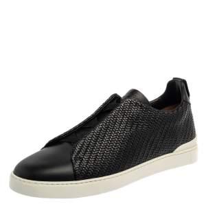Ermenegildo Zegna Couture Black Woven Leather Pelletessuta Triple Stitch Slip On Sneakers Size 42