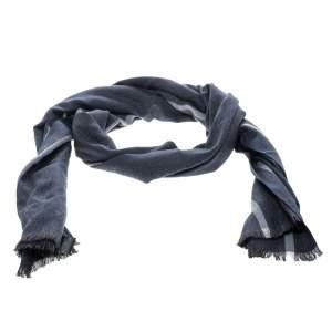Ermenegildo Zegna Blue and Grey Herringbone Pattern Silk Fringed Edge Scarf