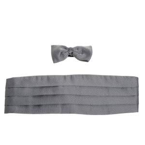 Ermenegildo Zegna Black/White Checkered Silk Cummerbund And Bow Tie Parure