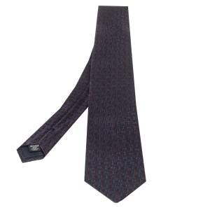 ربطة عنق ايرمنيجيلدو زينيا حرير جاكارد نمط هندسي أزرق كحلي و كستنائي
