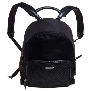 Ermenegildo Zegna Black Nylon and Leather Woven Backpack