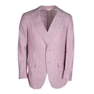 Ermenegildo Zegna Dark Pink and White Striped Linen Blend Resort Jacket L
