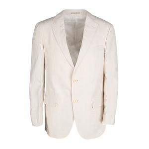 Ermenegildo Zegna Beige Pinstriped Linen Blend Regular Fit Blazer L